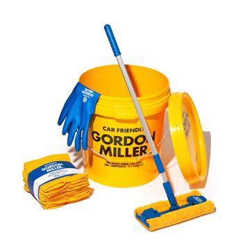 いま、最高にアガる「掃除」!|《お掃除セット》おしゃれな洗車道具で、おうちピカピカ新発想「バケツ+クロス(10P)+モップ+グローブ4点セット」|GORDON MILLER|イエロー/ソフトビニルグローブ(M)