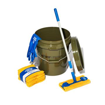 いま、最高にアガる「掃除」!|《お掃除セット》おしゃれな洗車道具で、おうちピカピカ新発想「バケツ+クロス(10P)+モップ+グローブ4点セット」|GORDON MILLER|オリーブ/ソフトビニルグローブ(M)