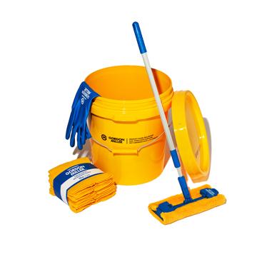 いま、最高にアガる「掃除」!|《お掃除セット》おしゃれな洗車道具で、おうちピカピカ新発想「バケツ+クロス(10P)+モップ+グローブ4点セット」|GORDON MILLER|イエロー/ソフトビニルグローブ(L)