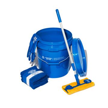 いま、最高にアガる「掃除」!|《お掃除セット》おしゃれな洗車道具で、おうちピカピカ新発想「バケツ+クロス(10P)+モップ+グローブ4点セット」|GORDON MILLER|ブルー/ソフトビニルグローブ(L)