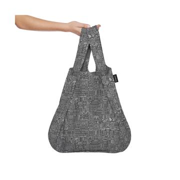 一瞬でリュックになる「変身エコバッグ」|《新色》世界の名所にワクワク!ひっぱるだけで、リュックにもトートにもなる特許構造の「エコバッグ」|notabag Hello World|Gray/Black