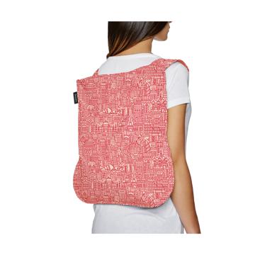 一瞬でリュックになる「変身エコバッグ」|《新色》世界の名所にワクワク!ひっぱるだけで、リュックにもトートにもなる特許構造の「エコバッグ」|notabag Hello World|Rose/Red