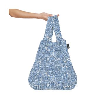 一瞬でリュックになる「変身エコバッグ」|《新色》世界の名所にワクワク!ひっぱるだけで、リュックにもトートにもなる特許構造の「エコバッグ」|notabag Hello World|Raw/Blue