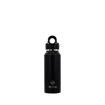 「指3本」で密閉できる魔法瓶|《スリム マット 355ml》炭酸もビールも36時間保冷、保温も18時間OKの「マイボトル」|REVOMAX|オニキスブラック