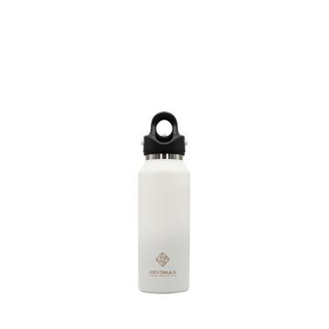 「指3本」で密閉できる魔法瓶|《スリム マット 355ml》炭酸もビールも36時間保冷、保温も18時間OKの「マイボトル」|REVOMAX|マットホワイト