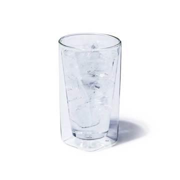 四角い空間に浮かぶ、いつもと違う一杯|《400ml》結露しにくく、レンジ加熱OK、見る角度で表情を変える「耐熱ダブルウォールグラス」|RayES