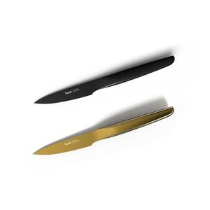《パーリングナイフ/チタンブラック&ゴールド》0.3mmの極薄刃でストレスフリーな切れ味、皮むきやヘタ取りなどの手元作業に便利な「小型包丁(刃渡り9cm)」|hast.
