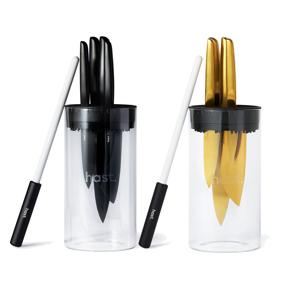 《コンプリートセット/チタンブラック&ゴールド》0.3mmの極薄刃でストレスフリーな切れ味「ナイフ4種+専用シャープナー+ガラススタンド」|hast.