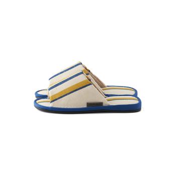 夏、素足の衣替え 指先サラサラ、何度も洗える、高島帆布の夏用スリッパ LOOM&SPOOL ネイビー/M
