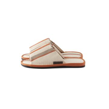 夏、素足の衣替え 指先サラサラ、何度も洗える、高島帆布の夏用スリッパ LOOM&SPOOL オレンジ/L