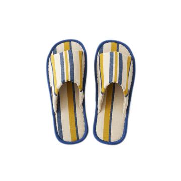 夏、素足の衣替え 指先サラサラ、何度も洗える、高島帆布の夏用スリッパ LOOM&SPOOL ネイビー/L