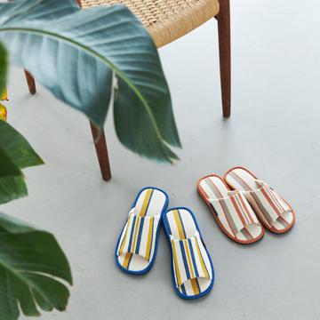 夏、素足の衣替え 指先サラサラ、何度も洗える、高島帆布の夏用スリッパ LOOM&SPOOL