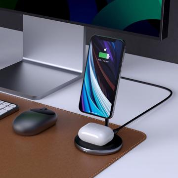 目線の先にiPhone画面、仕事スーイスイ!|iPhone12/13とAirPodsを同時充電できる、Mag Safe対応・マグネット式ワイヤレス充電器 | Hyper Juice