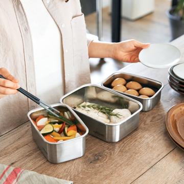 ステンレスに、レンジの入室許可がおりました〜|電子レンジ・オーブン・冷凍・食洗機OK、調理もできるステンレス保存容器(大中小3点セット)|cuitisan