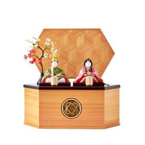 MONOCO限定デザイン《六角形/中》6つの日本伝統工芸をコンパクトモダンにした、江戸木目込の「プレミアム親王飾り」※第一期受注分|柿沼人形|宝想雛・結