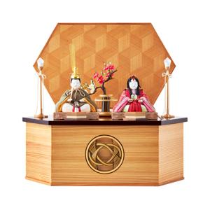 MONOCO限定デザイン《六角形/大》7つの日本伝統工芸をコンパクトモダンにした、江戸木目込の「プレミアム親王飾り」※第一期受注分|柿沼人形|宝想雛・結