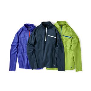 《メンズ》真冬のランニングや春秋のアウトドアレジャーに!伸縮性バツグン、ムレない、寒さを感じさせない「クオータージップ」|OROS|Quarter Zip