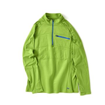 一枚で動き回れる、未来素材の「アクティブウェア」 《メンズ》真冬のランニングや春秋のアウトドアレジャーに!伸縮性バツグン、ムレない、寒さを感じさせない「クォータージップ」 OROS Quarter Zip グリーン/XL