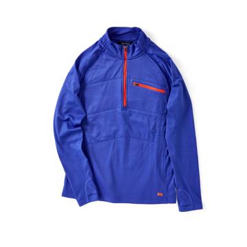一枚で動き回れる、未来素材の「アクティブウェア」 《メンズ》真冬のランニングや春秋のアウトドアレジャーに!伸縮性バツグン、ムレない、寒さを感じさせない「クォータージップ」 OROS Quarter Zip ブルー/XL