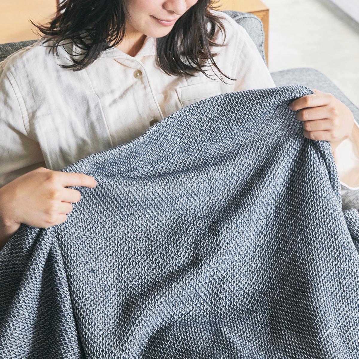 「熟睡」を追求したタオルケット   凹凸状のハニカム織りが、汗と湿気を逃がす